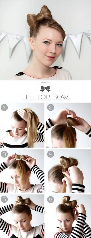 картинки как делать из волос бантик на голове